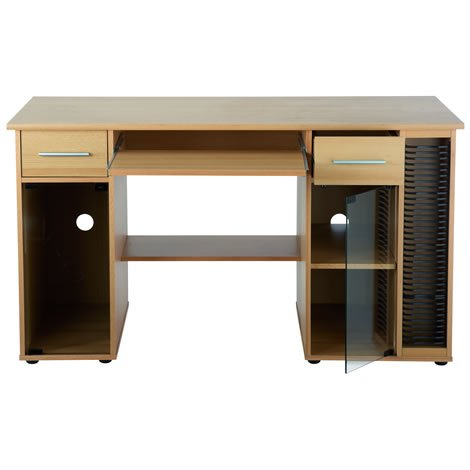 San Jose Computer Desk - PC Workstation CD Rack Drawers Cabinet - Beech