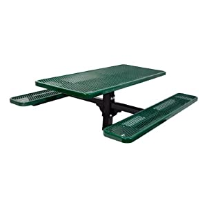 Rectangle In-Ground Mount Pedestal Picnic Table w/ Diamond Expanded Metal (6' L) from Ultra Play Systems