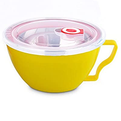 COFFLED Stainless Steel Bento Lunch Box,Double-Lids Food Storage Container with Anti-scalding Effect(Yellow color)
