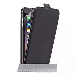 Caseflex iPhone 6 Plus Case Black Genuine Leather Flip Cover