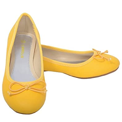 l amour 12 yellow slip on bow