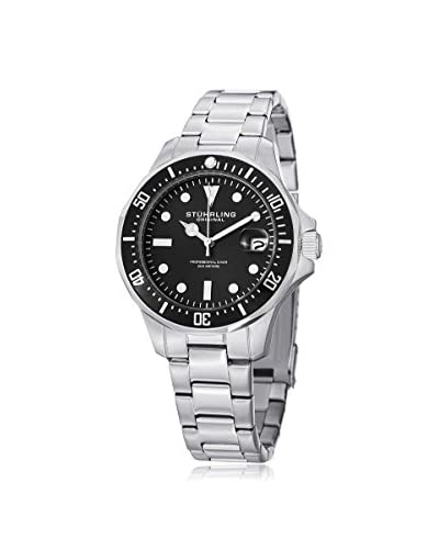 Stührling Original Men's 664.01 Aquadiver 664 Aquadiver Silver/Black Stainless Steel Watch