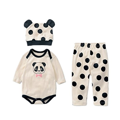 Flowerbb Baby Girl's 3 Set in 1 Cartton Panda Skirt +Pant Bodysuit+ Hat 26