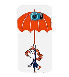 Cute Girl with Umbrella 3D Hard Polycarbonate Designer Back Case Cover for Samsung Galaxy S6 Edge :: Samsung Galaxy Edge G925