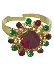 Multicolor Stone Studded Adjustable Ring - Stone And Metal - B00K4FW2PC