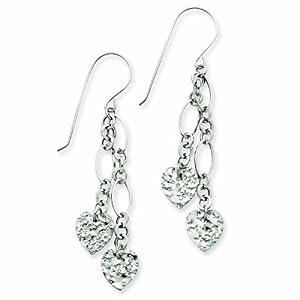 14K White Gold Dangle Heart Earrings