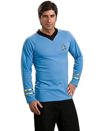 Star Trek Classic Adult Deluxe Blue Shirt ( Medium ) Costume AND Accessories