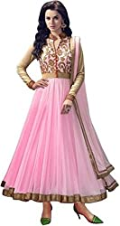 Pink Net Anarkali Semi Stitched Dress Material