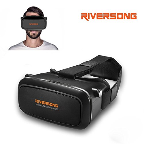 """3D VR Glasses, RIVERSONG Virtual Reality Glasses 3D VR Design Fits 4.0-6.0 Inch Smartphones for Movies and Games Compatible with 4.5""""-6.2"""" iPhone7/6/ 6s plus, Samsung S5/6/7 Edge Etc"""