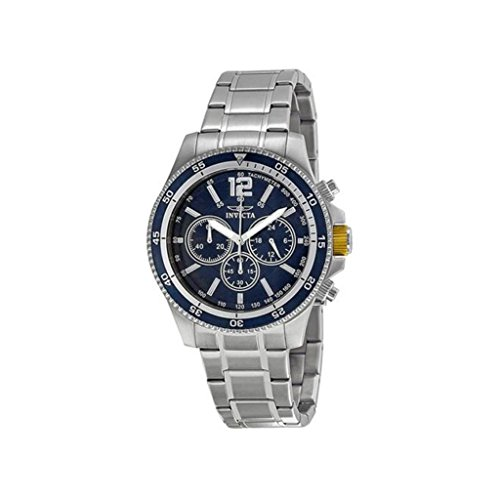 Invicta Specialty Classic Black Band Chronograph & Date Mens Watch-Blue Dial