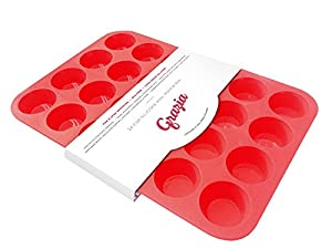 Grazia Silicone Muffin Pan, Red