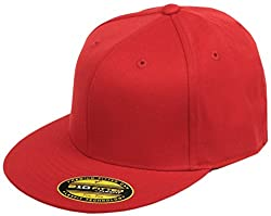 Original Blank Flexfit Flatbill Premium Fitted 210 Hat Cap Flex Fit Flat Bill Small/Medium -Red