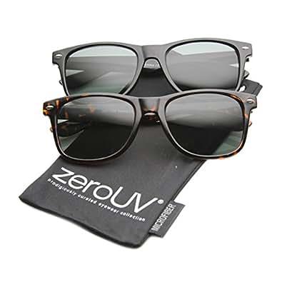 zeroUV - Classic Eyewear 80's Retro Large Horn Rimmed Style Sunglasses (2-Pack Glass Lens (Black + Tortoise))