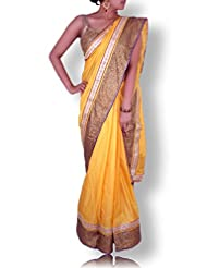 Marygold Yellow Silk Saree With Golden Sequin And Gotapatti Work Border