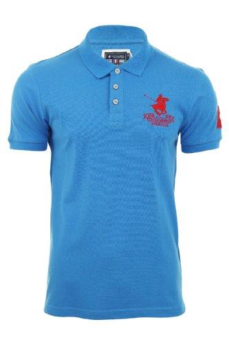 Uomini Polo Piqué Da Golf Santa Monica T Camicia Tinta Unita Con Logo (Blu reale) L