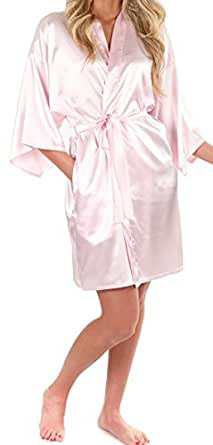 Very Sexy Satin Kimono Robe: Pink Beige - Small/Medium | Amazon.com