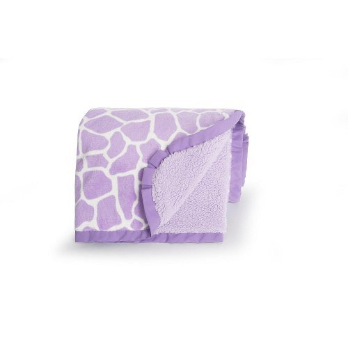 Carter's Velour Sherpa Blanket, Purple Giraffe (Discontinued by Manufacturer) - 1