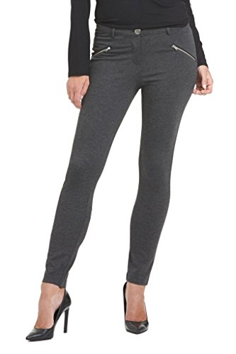 Rekucci Collection Women's Ponte Stretch Knit Pants W Zippers (X-Large,Charcoal) (Ponte Knit Skinny Pants compare prices)