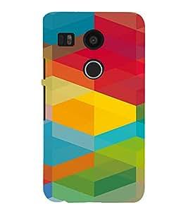 PrintVisa Colorful Cubical Pattern 3D Hard Polycarbonate Designer Back Case Cover for LG Google Nexus 5X