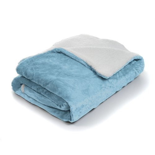 Lavish Home Fleece Blanket With Sherpa Backing, Full/Queen, Blue front-491412