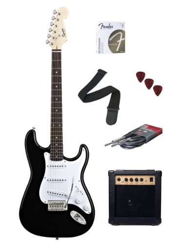 galleon fender starcaster strat electric guitar starter pack black. Black Bedroom Furniture Sets. Home Design Ideas