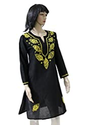 Indian Charm Women's Black Cotton Kurti
