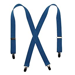 CTM® Kids Elastic Clip-End 1 Inch Solid Suspenders, Blue