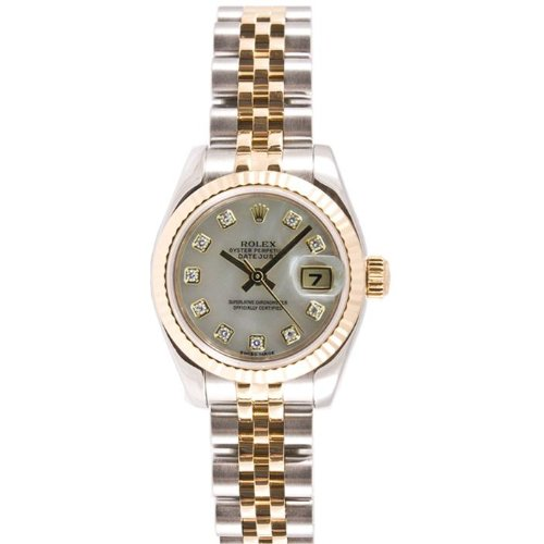 Rolex Ladys New Style Heavy Band Stainless Steel & 18K Gold Datejust Model 179173 Jubilee Band Fluted Bezel Mother Of Pearl Diamond Dial