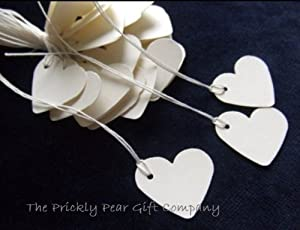 100 Small Cream Heart Tie On Price Tags- create strung tags for small gifts & Wedding favours