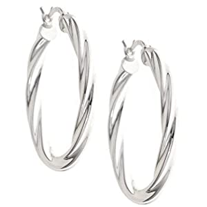 Platinum Over Sterling Silver Twist Round Hoop Earrings