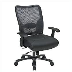 Office Star SPACE Big and Tall Double Air Grid Leather and Mesh Managers Chair, Black