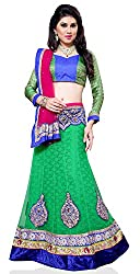 Jiya Presents Embroidered Net Lehenga Choli(Green,Blue)