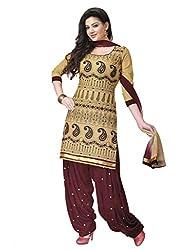 Salwar Studio Fawn & Oxblood Dress Material with Dupatta RP 1009