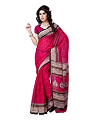 101cart Dark Pink Color Art Silk Party Wear Saree