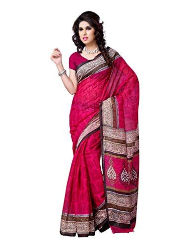 101cart Dark Pink Color Art Silk Party Wear Saree
