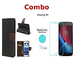 INFINITO (TM) Combo of (Black Brown) Diary Wallet Flip Case Cover & Tempered Glass For Samsung Galaxy NOTE 1 i9220 N7000