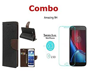 INFINITO (TM) Combo of (Black Brown) Diary Wallet Flip Case Cover & Tempered Glass For Samsung Galaxy J5
