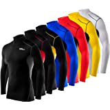Men's Boys TCA HyperFusion Compression Base Layer Top Long Sleeve Under Shirt - Mock Neck