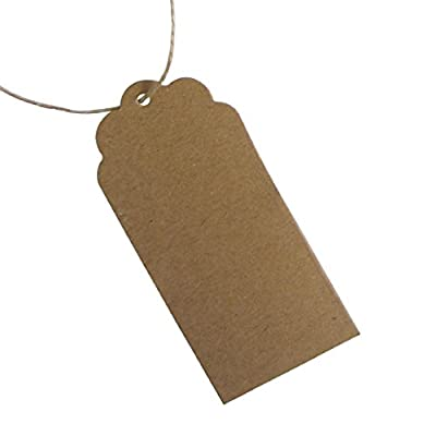 50pcs 95mmx45mm Large Scalloped Brown Kraft Paper Tag with 10M Twine String - Shabby Chic Wedding Tags,Gift Message Tags,DIY Cards,Luggage Tags,Price Label from 95mmtagstring
