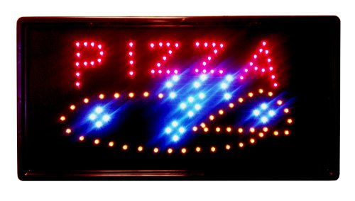 "10""X19"" Animated Led Neon Light Pizza Pie Sign, 2 On/Off Switches + Chain"