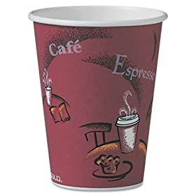 Solo+Foodservice Solo OF12BI-0041 Hot Drink Cup, Paper, 12-Ounce, Bistro Design (Pack of 300)