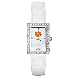 CZNSW22421Q-w-White Leather Clemson University Watch with Cz Frame by NCAA Officially Licensed