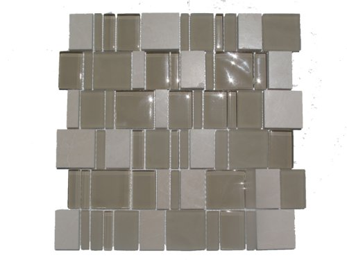 Tan Special Pattern Glass and Stone Mosaic Tile / 220 sq ft / Kitchen Backsplash, Bathroom Shower