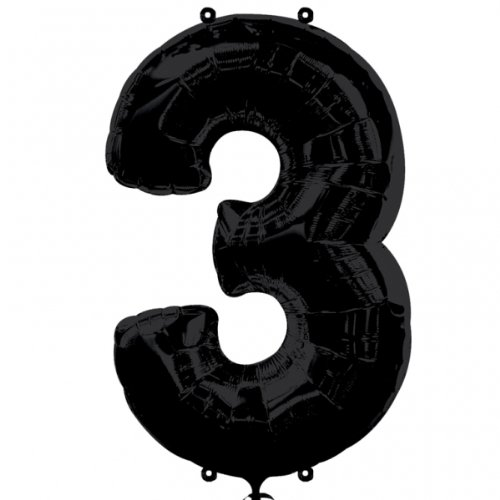 "Foil Balloon 34""Number 3 - Black"