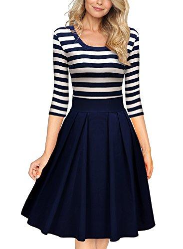 miusol-womens-navy-style-stripe-scoop-neck-2-3-sleeve-casual-swing-dress-navy-blue-medium