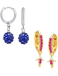 VK Jewels Stunning Gold And Rhodium Plated Alloy Earrings Combo For Women & Girls - COMBO1297G [VKCOMBO1297G]