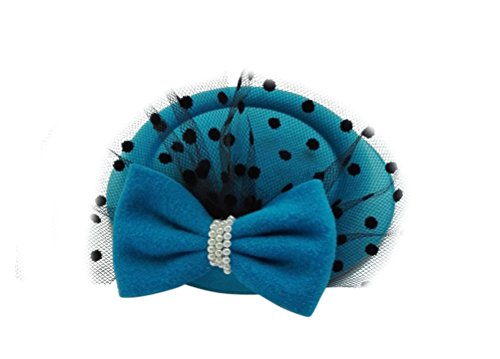 Women's Fascinators Hat Pillbox Hat Cocktail Party Hat with Veil Hair Clip (Light Blue) (Tiny Hat Hair Clip compare prices)