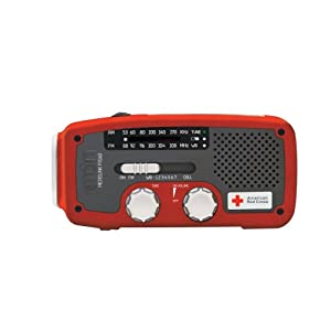 Etón American Red Cross ARCFR160R Microlink Self-Powered AM/FM/NOAA Weather Radio with Flashlight, Solar Power and Cell Phone Charger (Red)