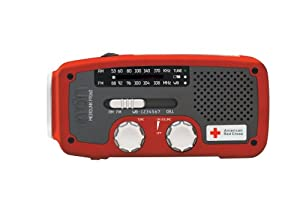 Etón American Red Cross Arcfr160wxr Microlink Self-powered Am/fm/noaa Weather Radio With Flashlight Solar Power And Cell Phone Charger Red