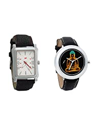 Gledati Men's White Dial And Foster's Women's Black Dial Analog Watch Combo_ADCOMB0001793